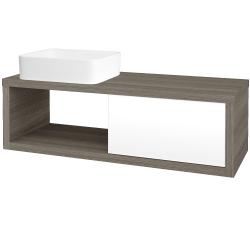 Dřevojas - Koupelnová skříň STORM SZZO 120 (umyvadlo Joy) - D03 Cafe / L01 Bílá vysoký lesk / Levé (214579)
