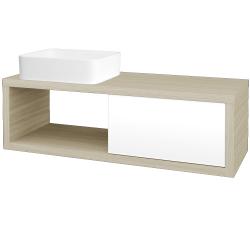Dřevojas - Koupelnová skříň STORM SZZO 120 (umyvadlo Joy) - D04 Dub / L01 Bílá vysoký lesk / Levé (214586)