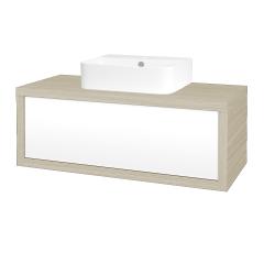 Dřevojas - Koupelnová skříň STORM SZZ 100 (umyvadlo Joy 3) - D04 Dub / L01 Bílá vysoký lesk (218096)
