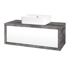 Dřevojas - Koupelnová skříň STORM SZZ 100 (umyvadlo Joy 3) - D10 Borovice Jackson / L01 Bílá vysoký lesk (218140)