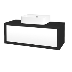 Dřevojas - Koupelnová skříň STORM SZZ 100 (umyvadlo Joy 3) - N03 Graphite / L01 Bílá vysoký lesk (218225)
