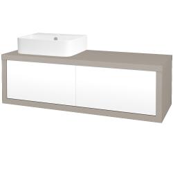 Dřevojas - Koupelnová skříň STORM SZZ2 120 (umyvadlo Joy 3) - N07 Stone / L01 Bílá vysoký lesk / Pravé (219024P)