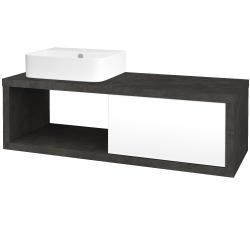 Dřevojas - Koupelnová skříň STORM SZZO 120 (umyvadlo Joy 3) - D16  Beton tmavý / L01 Bílá vysoký lesk / Levé (219345)