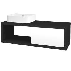 Dřevojas - Koupelnová skříň STORM SZZO 120 (umyvadlo Joy 3) - N03 Graphite / L01 Bílá vysoký lesk / Levé (219390)