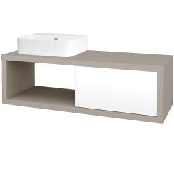 Dřevojas - Koupelnová skříň STORM SZZO 120 (umyvadlo Joy 3) - N07 Stone / L01 Bílá vysoký lesk / Levé (219413)