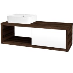 Dřevojas - Koupelnová skříň STORM SZZO 120 (umyvadlo Joy 3) - D06 Ořech / L01 Bílá vysoký lesk / Pravé (219673P)