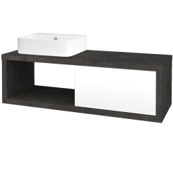 Dřevojas - Koupelnová skříň STORM SZZO 120 (umyvadlo Joy 3) - D16  Beton tmavý / L01 Bílá vysoký lesk / Pravé (219734P)