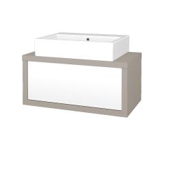 Dřevojas - Koupelnová skříň STORM SZZ 80 (umyvadlo Kube) - N07 Stone / L01 Bílá vysoký lesk (221065)