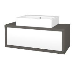 Dřevojas - Koupelnová skříň STORM SZZ 100 (umyvadlo Kube) - N06 Lava / L01 Bílá vysoký lesk (221225)