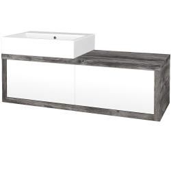Dřevojas - Koupelnová skříň STORM SZZ2 120 (umyvadlo Kube) - D10 Borovice Jackson / L01 Bílá vysoký lesk / Levé (221348)
