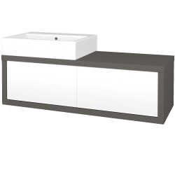 Dřevojas - Koupelnová skříň STORM SZZ2 120 (umyvadlo Kube) - N06 Lava / L01 Bílá vysoký lesk / Pravé (221584P)