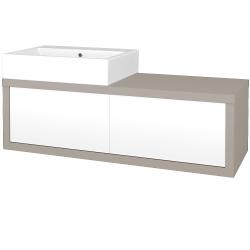 Dřevojas - Koupelnová skříň STORM SZZ2 120 (umyvadlo Kube) - N07 Stone / L01 Bílá vysoký lesk / Pravé (221591P)
