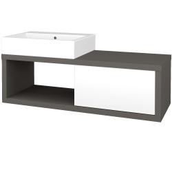 Dřevojas - Koupelnová skříň STORM SZZO 120 (umyvadlo Kube) - N06 Lava / L01 Bílá vysoký lesk / Levé (221768)