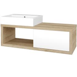 Dřevojas - Koupelnová skříň STORM SZZO 120 (umyvadlo Kube) - D15 Nebraska / L01 Bílá vysoký lesk / Pravé (221898P)