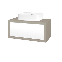 Dřevojas - Koupelnová skříň STORM SZZ 80 (umyvadlo Joy 3) - M05 Béžová mat / L01 Bílá vysoký lesk (251154)