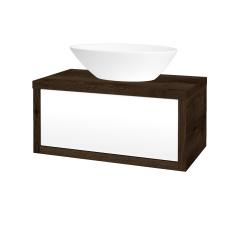 Dřevojas - Koupelnová skříň STORM SZZ 80 (umyvadlo Triumph) - D21 Tobacco / L01 Bílá vysoký lesk (251208)