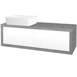 Dřevojas - Koupelnová skříň STORM SZZ2 120 (umyvadlo Joy) - D20 Galaxy / L01 Bílá vysoký lesk / Pravé (251987P)