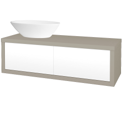 Dřevojas - Koupelnová skříň STORM SZZ2 120 (umyvadlo Triumph) - M05 Béžová mat / L01 Bílá vysoký lesk / Levé (252571)