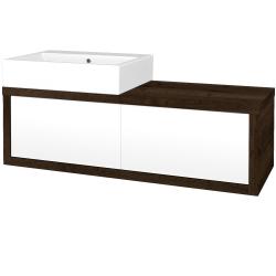 Dřevojas - Koupelnová skříň STORM SZZ2 120 (umyvadlo Kube) - D21 Tobacco / L01 Bílá vysoký lesk / Pravé (252823P)