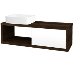 Dřevojas - Koupelnová skříň STORM SZZO 120 (umyvadlo Joy) - D21 Tobacco / L01 Bílá vysoký lesk / Pravé (253028P)