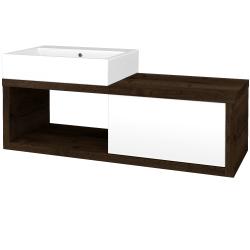 Dřevojas - Koupelnová skříň STORM SZZO 120 (umyvadlo Kube) - D21 Tobacco / L01 Bílá vysoký lesk / Pravé (253820P)