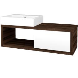 Dřevojas - Koupelnová skříň STORM SZZO 120 (umyvadlo Kube) - D06 Ořech / L01 Bílá vysoký lesk / Pravé (72523P)