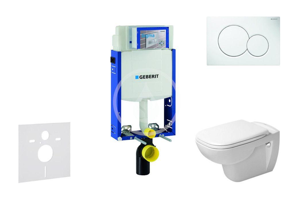 GEBERIT Kombifix Modul pro závěsné WC s tlačítkem Sigma01, alpská bílá + Duravit D-Code WC a sedátko