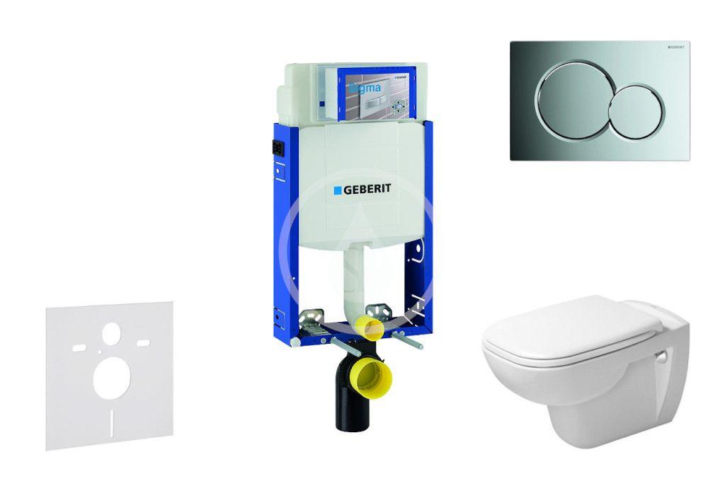 GEBERIT Kombifix Modul pro závěsné WC s tlačítkem Sigma01, lesklý chrom + Duravit D-Code WC a sedátk