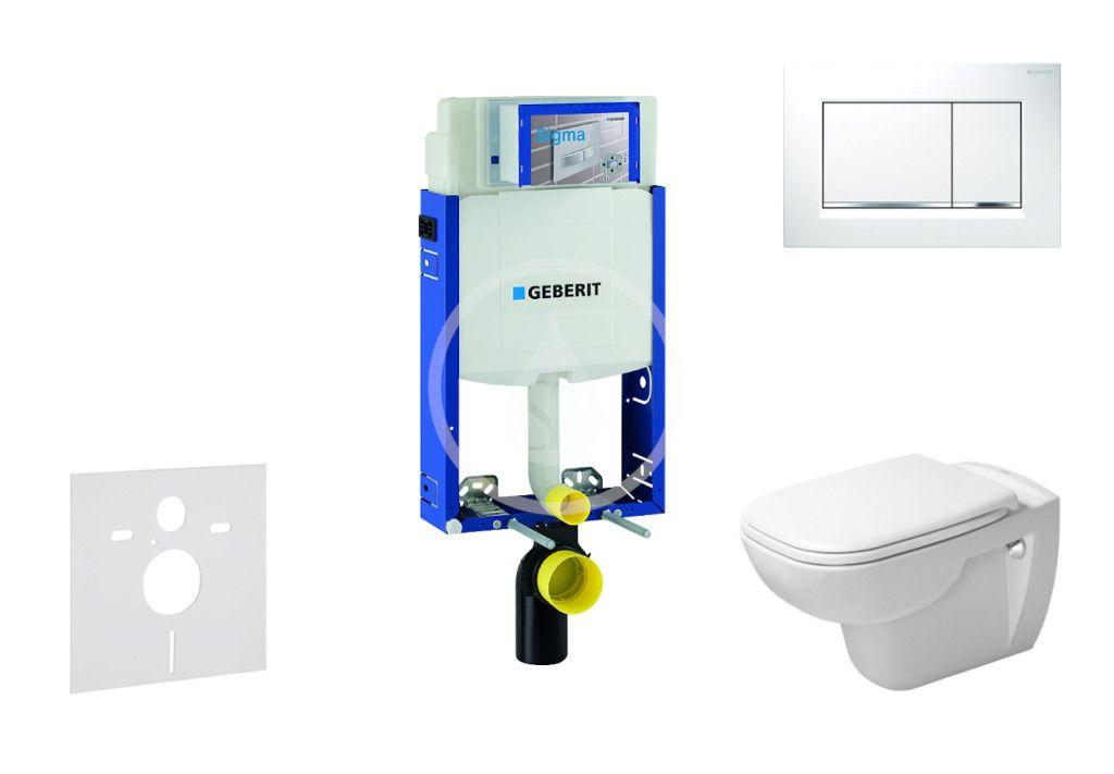 GEBERIT Kombifix Modul pro závěsné WC s tlačítkem Sigma30, bílá/lesklý chrom + Duravit D-Code WC a s