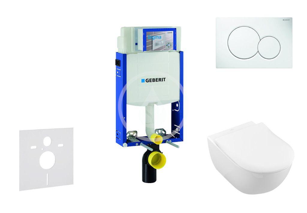 GEBERIT Kombifix Modul pro závěsné WC s tlačítkem Sigma01, alpská bílá + Villeroy Boch WC a sedátko, DirectFlush, SoftClose, CeramicPlus 110.302.00.5 NI1