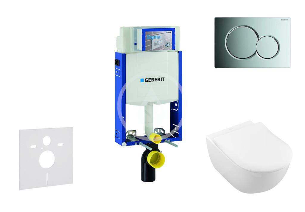 Levně GEBERIT Kombifix Modul pro závěsné WC s tlačítkem Sigma01, lesklý chrom + Villeroy Boch WC a sedátko, DirectFlush, SoftClose, CeramicPlus 110.302.00.5 NI2