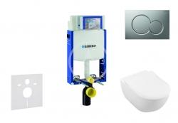 GEBERIT - Kombifix Modul pro závěsné WC s tlačítkem Sigma01, matný chrom + Villeroy Boch - WC a sedátko, DirectFlush, SoftClose, CeramicPlus (110.302.00.5 NI3)