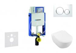 GEBERIT - Kombifix Modul pro závěsné WC s tlačítkem Sigma20, bílá/lesklý chrom + Villeroy Boch - WC a sedátko, DirectFlush, SoftClose, CeramicPlus (110.302.00.5 NI4)