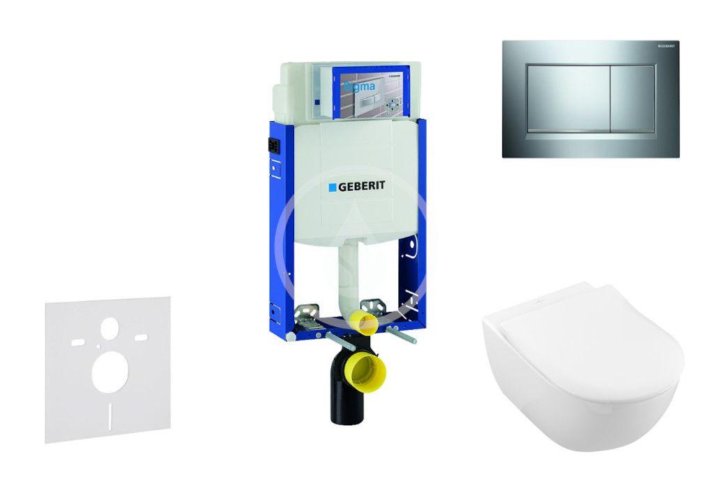 GEBERIT Kombifix Modul pro závěsné WC s tlačítkem Sigma30, lesklý chrom/chrom mat + Villeroy Boch WC