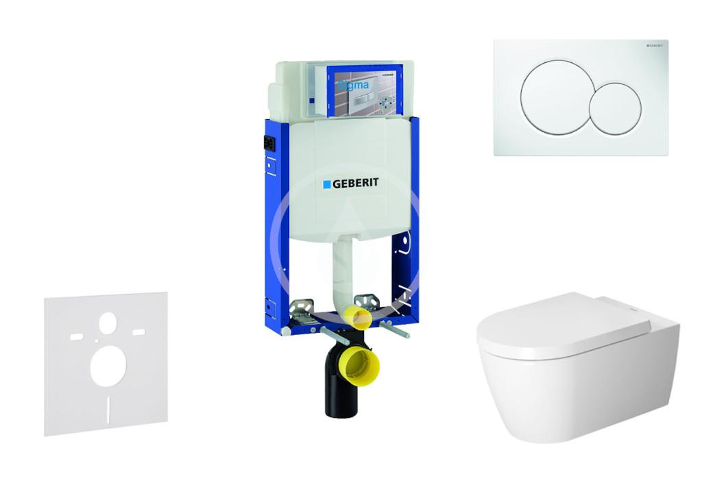 GEBERIT Kombifix Modul pro závěsné WC s tlačítkem Sigma01, alpská bílá + Duravit ME by Starck WC a sedátko, Rimless, SoftClose 110.302.00.5 NM1