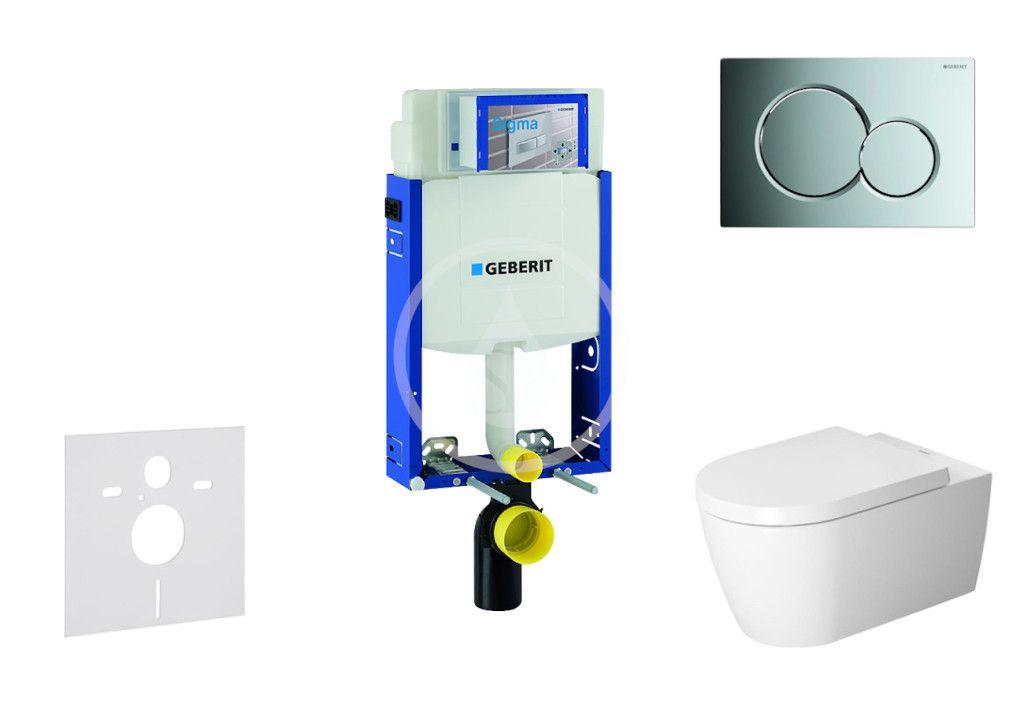 GEBERIT Kombifix Modul pro závěsné WC s tlačítkem Sigma01, lesklý chrom + Duravit ME by Starck WC a