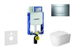 GEBERIT - Kombifix Modul pro závěsné WC s tlačítkem Sigma30, lesklý chrom/chrom mat + Duravit ME by Starck - WC a sedátko, Rimless, SoftClose (110.302.00.5 NM6)