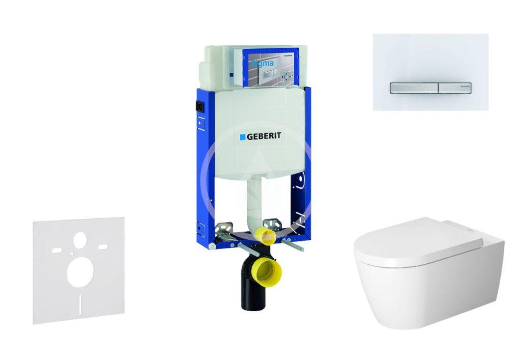 GEBERIT Kombifix Modul pro závěsné WC s tlačítkem Sigma50, alpská bílá + Duravit ME by Starck WC a s