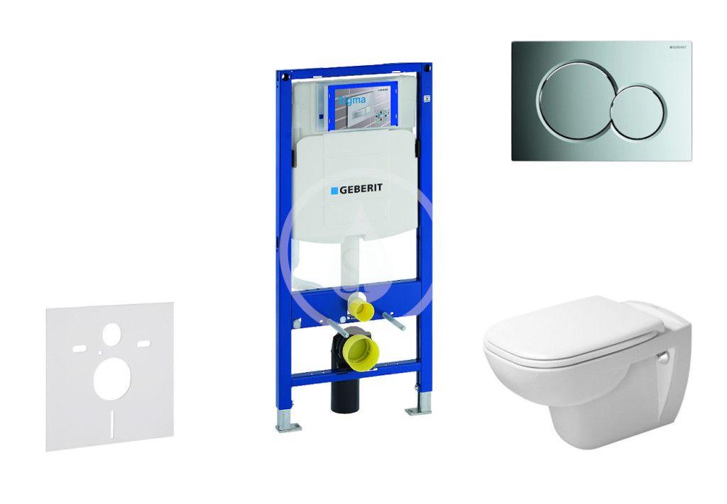GEBERIT Duofix Modul pro závěsné WC s tlačítkem Sigma01, lesklý chrom + Duravit D-Code WC a sedátko,
