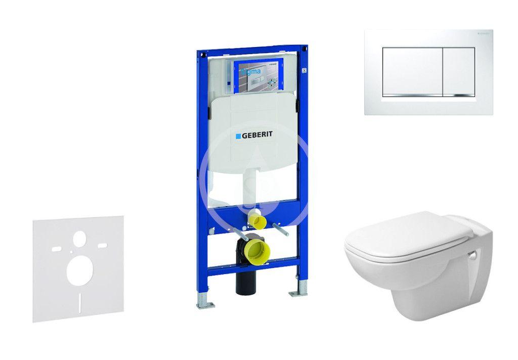 GEBERIT Duofix Modul pro závěsné WC s tlačítkem Sigma30, bílá/lesklý chrom + Duravit D-Code WC a sed