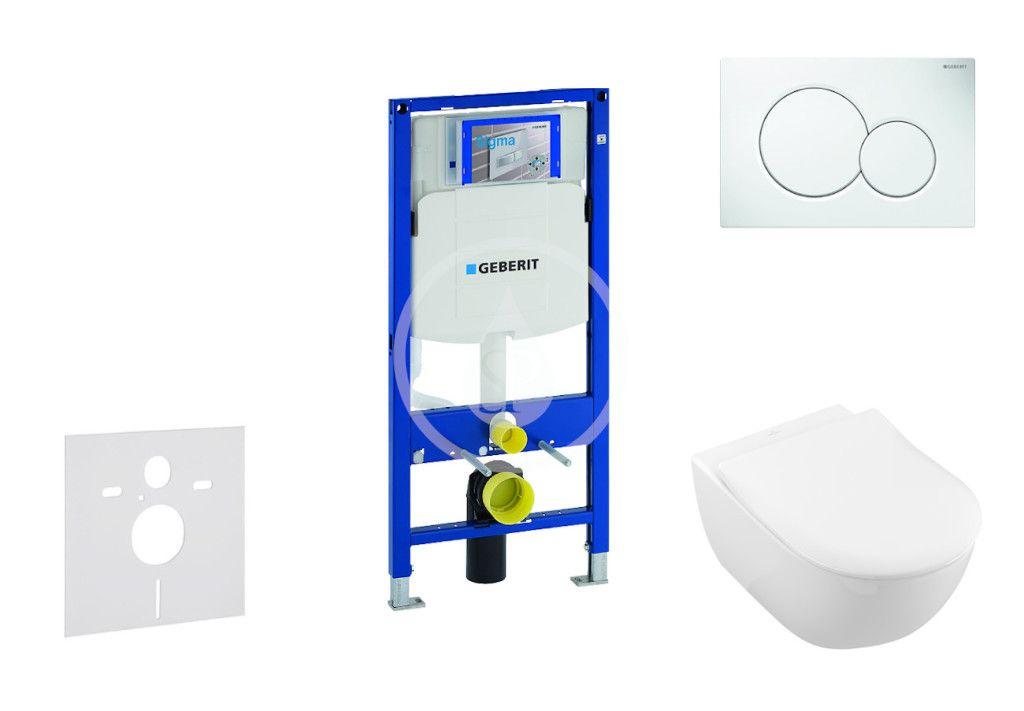GEBERIT Duofix Modul pro závěsné WC s tlačítkem Sigma01, alpská bílá + Villeroy Boch WC a sedátko, D