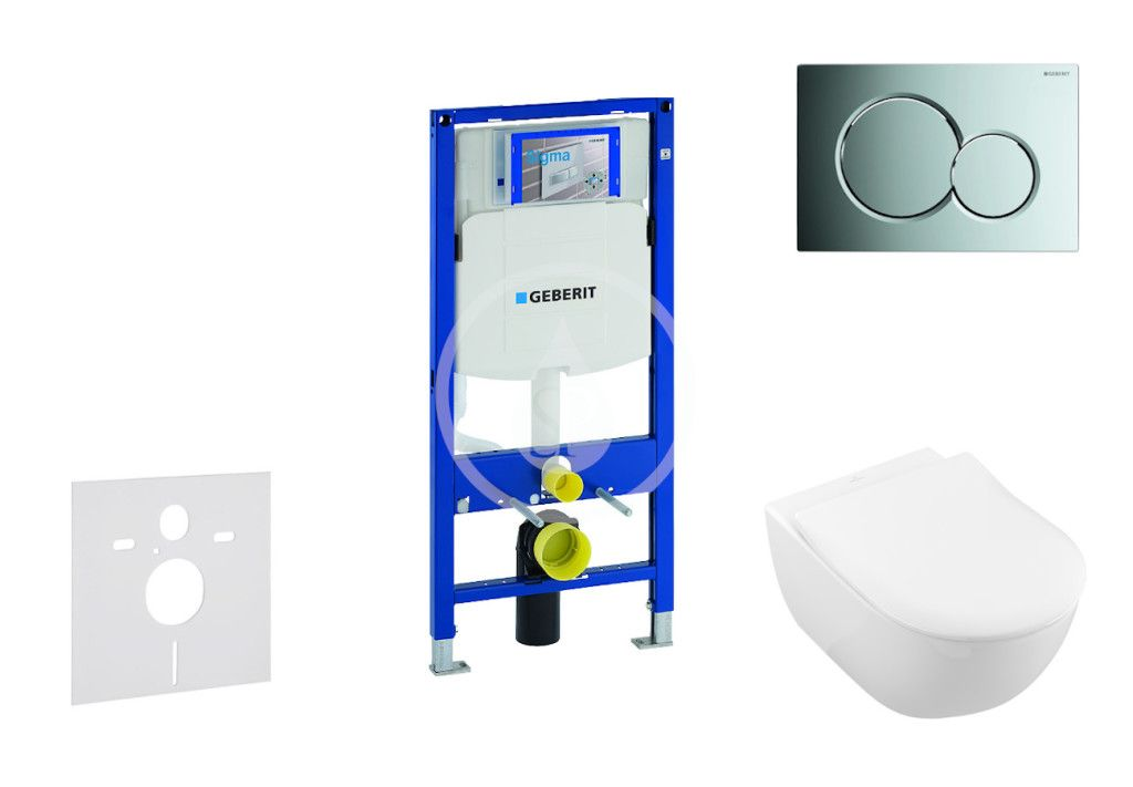 GEBERIT Duofix Modul pro závěsné WC s tlačítkem Sigma01, lesklý chrom + Villeroy Boch WC a sedátko,
