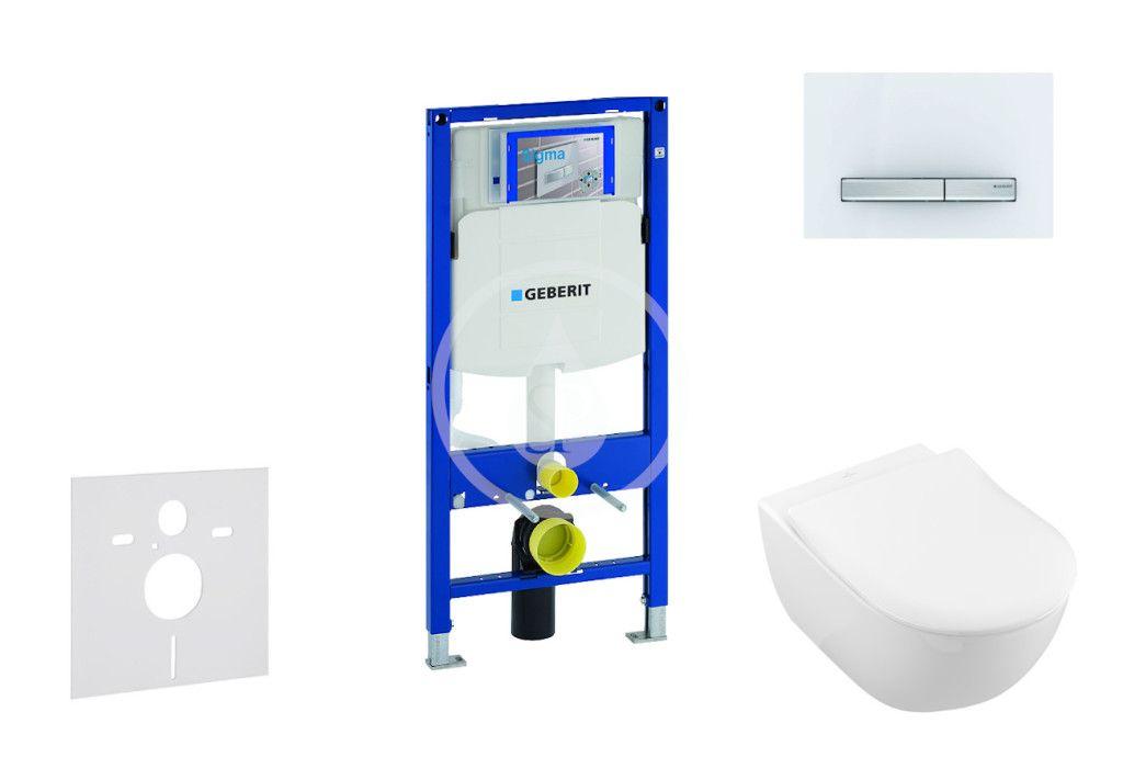 GEBERIT Duofix Modul pro závěsné WC s tlačítkem Sigma50, alpská bílá + Villeroy Boch WC a sedátko, D