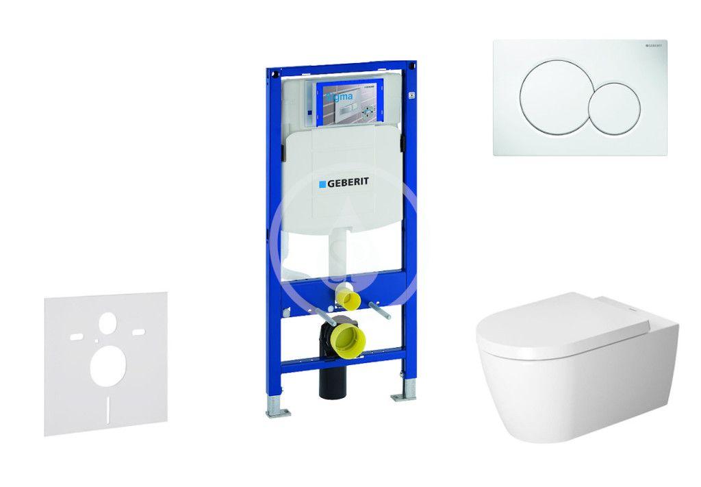GEBERIT Duofix Modul pro závěsné WC s tlačítkem Sigma01, alpská bílá + Duravit ME by Starck WC a sed