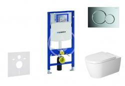 GEBERIT - Duofix Modul pro závěsné WC s tlačítkem Sigma01, lesklý chrom + Duravit ME by Starck - WC a sedátko, Rimless, SoftClose (111.300.00.5 NM2)