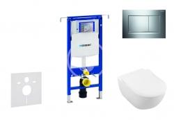 GEBERIT - Duofix Modul pro závěsné WC s tlačítkem Sigma30, lesklý chrom/chrom mat + Villeroy Boch - WC a sedátko, DirectFlush, SoftClose, CeramicPlus (111.355.00.5 NI6)