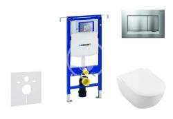 GEBERIT - Duofix Modul pro závěsné WC s tlačítkem Sigma30, matný chrom/chrom + Villeroy Boch - WC a sedátko, DirectFlush, SoftClose, CeramicPlus (111.355.00.5 NI7)