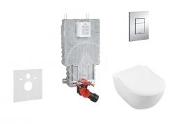 GROHE - Uniset Set předstěnové instalace, klozetu a sedátka Subway 2.0, DirectFlush, SoftClose, CeramicPlus a tlačítka Skate Cosmo, chrom (38643SET-KI)