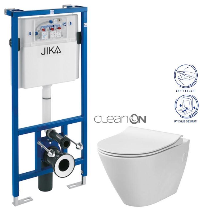 předstěnový instalační systém bez tlačítka + WC CERSANIT CLEANON CITY H895652 X CI1