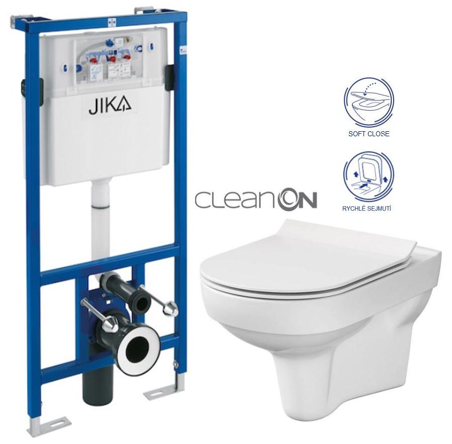 předstěnový instalační systém bez tlačítka + WC CERSANIT CITY NEW CLEANON + WC SEDÁTKO SLIM H895652